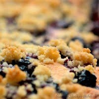 Yeast cake with cranberries and crumble