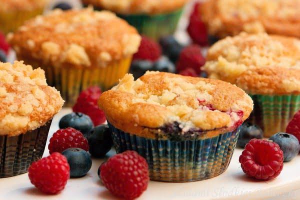 Muffinki owocowe z kruszonką