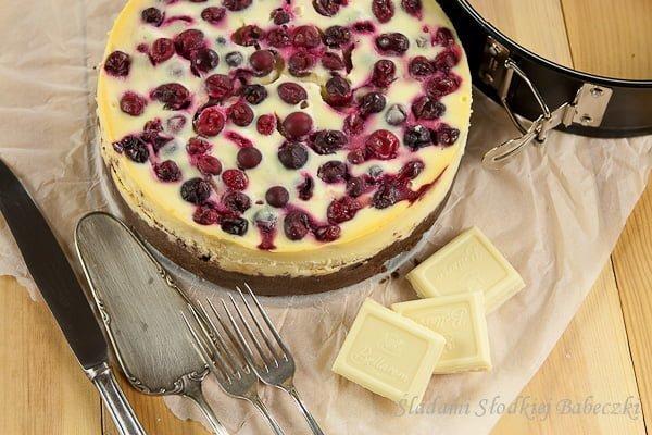 Sernik z białą czekoladą i żurawiną   Cheesecake with white chocolate and cranberries