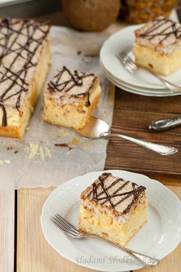 Ciasto ananasowo - kokosowe | Pineapple and coconut cake